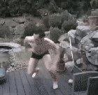 Jumping into a frozen pool