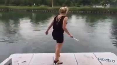 Jumping off of a dock in high heels