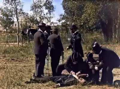 Pistol duel - 1896 - by The Lumière brothers (colorised)