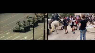 America loves tank man. US police has been reenacting tank man for the last several days. Here is an updated compilation