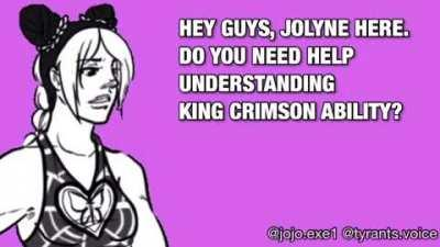 I still don't know how king crimson works 😔