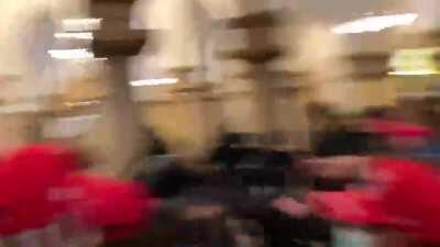Protestors clash with senate police inside the Capital Hill