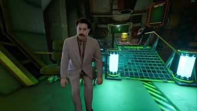 Borat's first time in the space rig