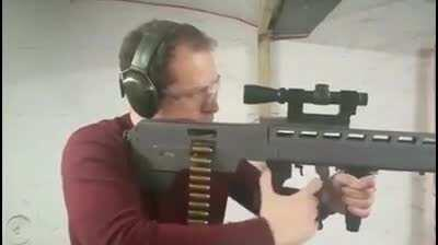 a vid of the operation of the cursed .44 magnum lever action belt fed bullpup