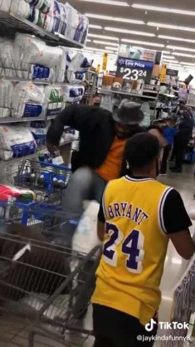 Kid thinks it's funny to block someone's cart