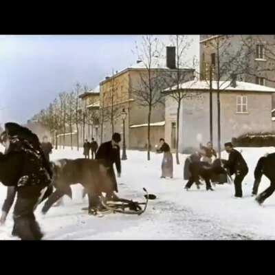 A 124-years-old snowballs fight in Lyon, France 1896