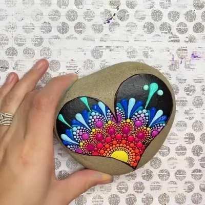 Mandala dot art on a stone