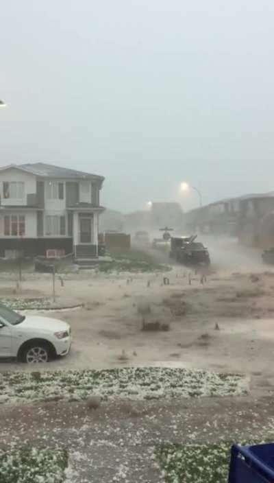 Hailstorm in Alberta, Canada