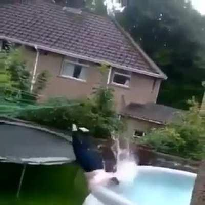 Watch me trampoline into the pool!