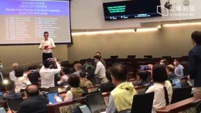 Video of Democrat Ted Hui being carried out of conference chamber by security during House Committee meeting chaos today. [Stand News]