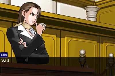 Phoenix Wright och gänget debatterar om när man äter middag.