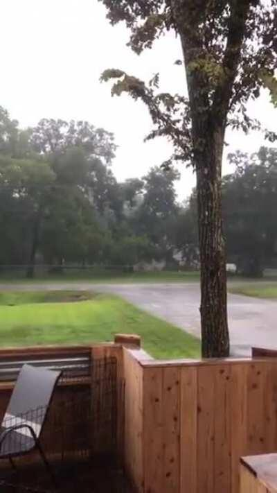 Just taking a video of the rain