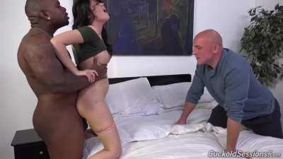 Very hot European wife fucked hard by a black guy in front on her husband HD