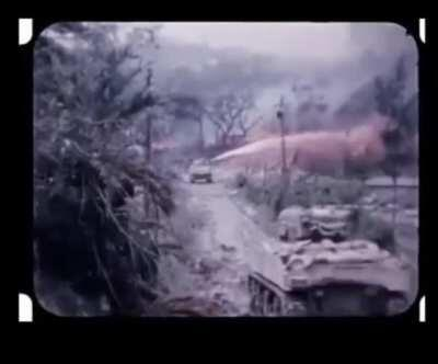 Battle of Okinawa US marine flamethrower tanks attack suspected japanese positions.