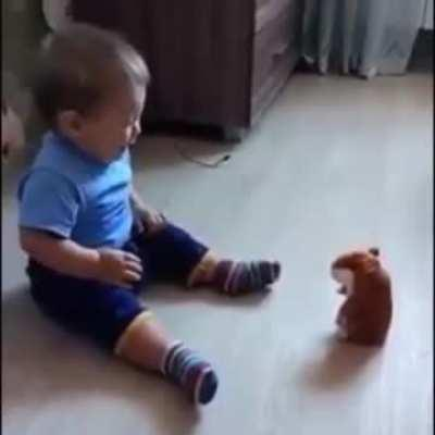 Kid scared by toy that repeats what you say