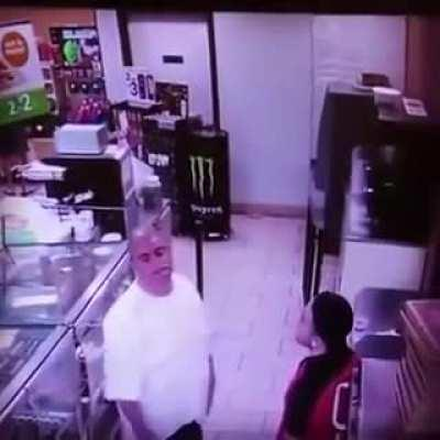 Attempting to punch a 7-11 employee..that sweet block