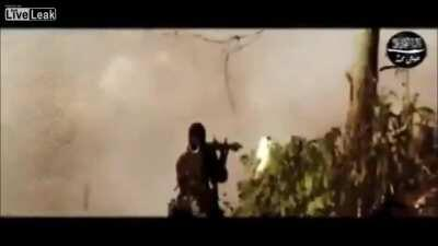 RPG fails on insurgent, blowing his head open