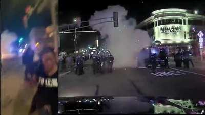 Rioter throws a mortar at police in Naperville, Illinois