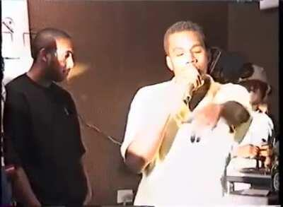 19 year old Kanye West rapping in NYC (1996)