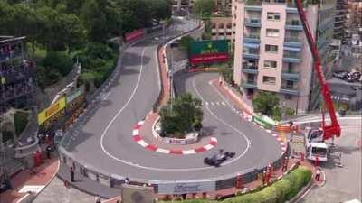 Bottas drifting around the hairpin at last year's Monaco Qualifying
