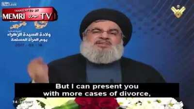 Nasrallah: if you're against child marriage you're serving satan and the devils. We (hezbollah) should spread child marriage.
