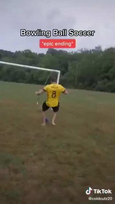 Playing soccer with a bowling ball and perfect winning scream
