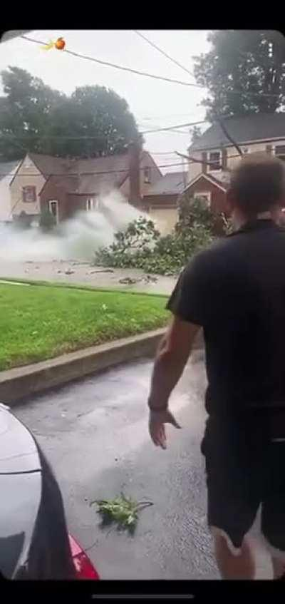 Aftermath of hurricane passing through New Jersey
