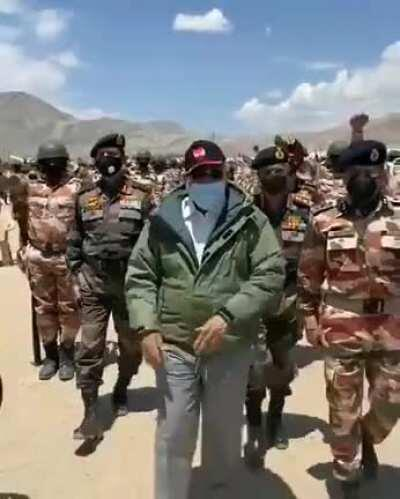 Prime Minister NarendraModi among soldiers after addressing them today in Nimmoo, Ladakh.