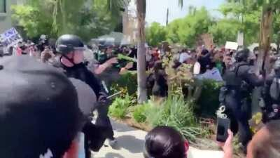 LAPD beating and shooting peaceful protesters for no reason.