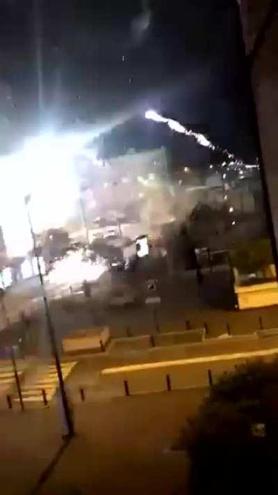 Fireworks fired at Paris police station during attack yesterday