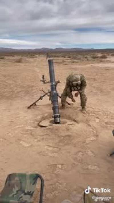 The recoil of a mortar