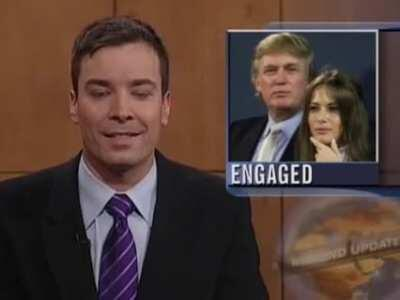 Jimmy Fallon gets interrupted by a heckler during Update and later turns it into applause (2004)