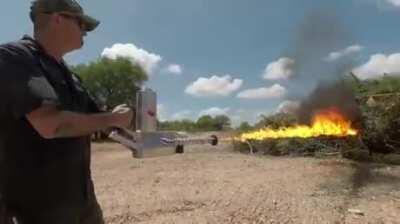Difference between Elon Musk's Not A Flamethrower and a real flamethrower.