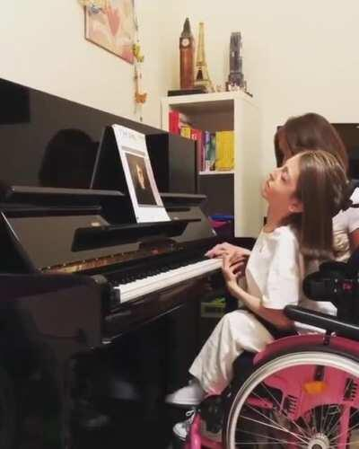 Valentina, 14, was born with a rare muscle disease and has been in a wheelchair for as long as she can remember. A year ago she couldn't even read music, now she's playing Chopin. She has also taught herself to play the cello, and believes she will change