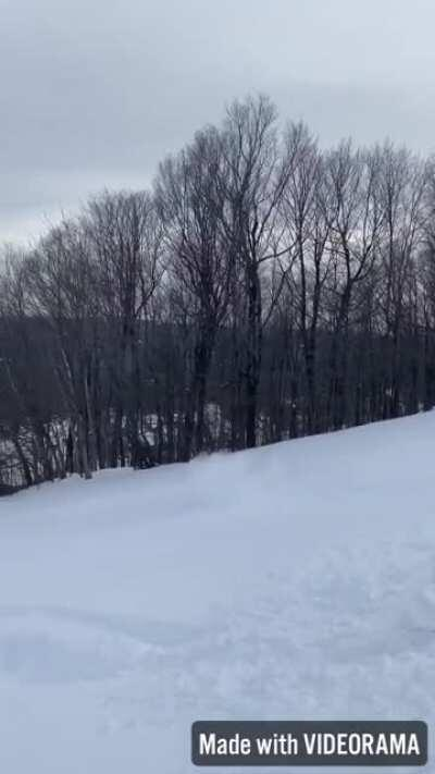 """Huckfest at Okemo after the 45"""" storm (sorry for portrait)"""