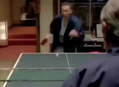 Ping Pong Legend Tommy Lee Jones Vs An Amateur Challenger