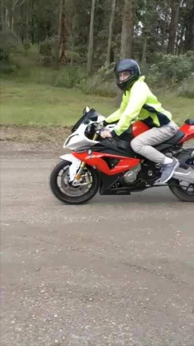 Please please please don't put your S1000RR in race mode and try to skid it on a dirt road