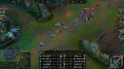 Caitlyn blocked her minion, it steps asides and she gets oneshot by a spear.