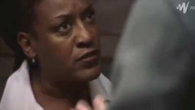 First clip is CCH Pounder's voice, second clip I overdubbed with the impersonation Dennis did. He nailed it.