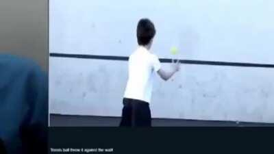 Tenis ball throw it against the wall