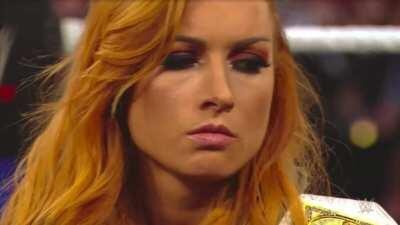 That time when WWE instructed Edge to come back and do whatever he could to get Becky Lynch booed by the crowd, but even after making fun of Edge's career-ending neck injury, Becky still gets cheered by the crowd - you can see the moment Edge gives up and