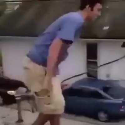 Chris jumps off the roof