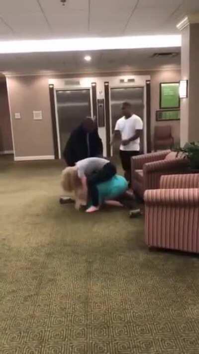 RACIST KAREN GETS HER ASS KICKED IN HOTEL