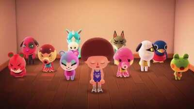 Richard Simmons came to my island to teach the villagers aerobics! 👯 (They make stomping sounds omg 😭)