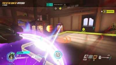 Didn't even know Reinhardt could get a sharpshooter play of the game, but landing a good firestrike on a tire does it!