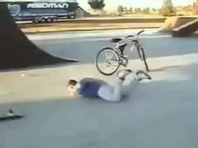 Kid gets skateboard yeeted at him