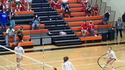 I recorded the winning point of a volleyball game and stabilized the video to the ball