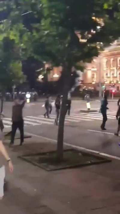 Protests in Belgrade, Serbia, last night. The cavalry arrives.