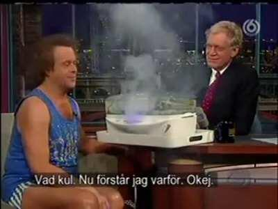 Richard Simmons shows off his new steamer.