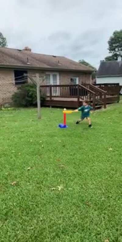 My kid learns to hit